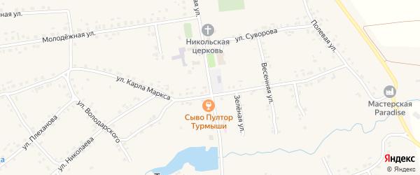 Советская улица на карте села Турмыши с номерами домов