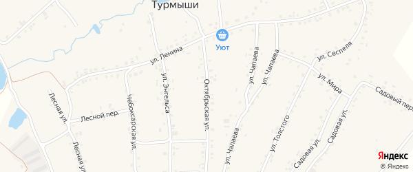Октябрьская улица на карте села Турмыши с номерами домов