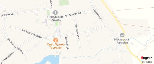 Весенняя улица на карте села Турмыши с номерами домов