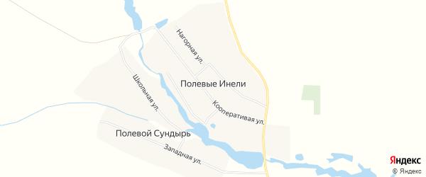 Карта деревни Полевые Инели в Чувашии с улицами и номерами домов