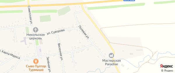 Полевая улица на карте села Турмыши с номерами домов
