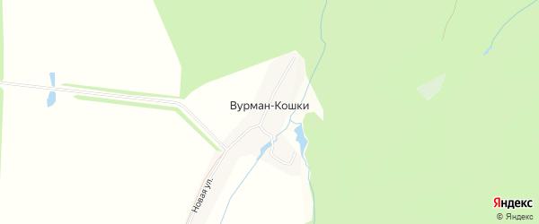 Карта деревни Вурмана-Кошки в Чувашии с улицами и номерами домов