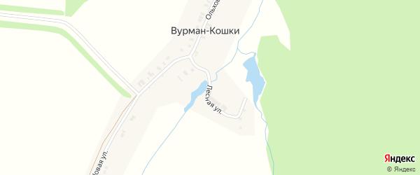 Лесная улица на карте деревни Вурмана-Кошки с номерами домов