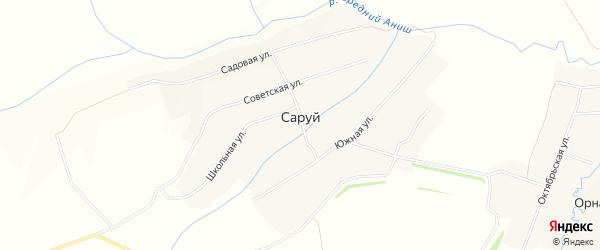 Карта деревни Саруй в Чувашии с улицами и номерами домов