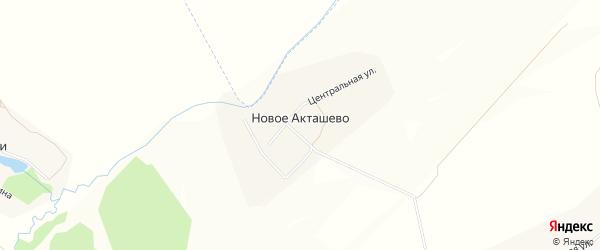 Карта деревни Новое Акташево в Чувашии с улицами и номерами домов