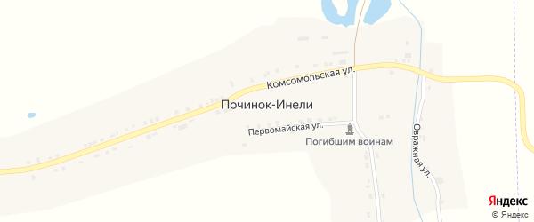 Первомайская улица на карте деревни Починка-Инели с номерами домов