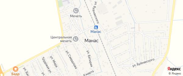 Улица А.Султана на карте поселка Манаса с номерами домов