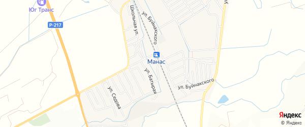 Карта поселка Манаса в Дагестане с улицами и номерами домов