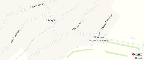 Южная улица на карте деревни Саруй с номерами домов