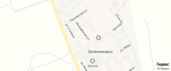 Молодежная улица на карте села Зеленоморск с номерами домов