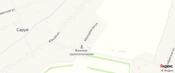 Молодежная улица на карте деревни Саруй с номерами домов