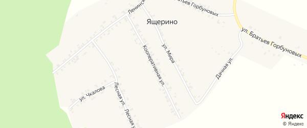 Кооперативная улица на карте деревни Ящерино с номерами домов