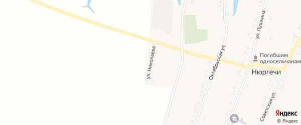 Улица А.Николаева на карте деревни Нюргечи с номерами домов