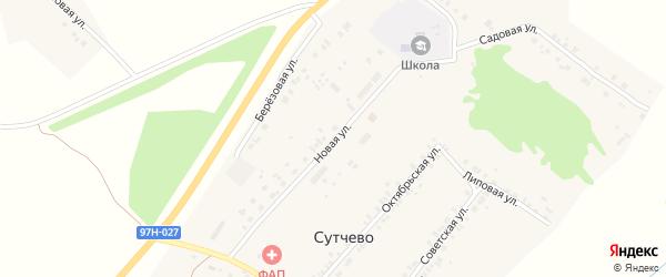 Новая улица на карте деревни Сутчево с номерами домов