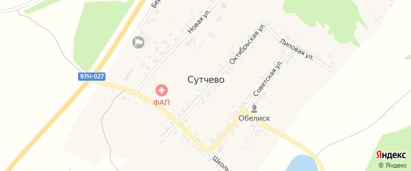 Октябрьская улица на карте деревни Сутчево с номерами домов