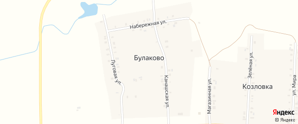 Луговая улица на карте деревни Булаково с номерами домов