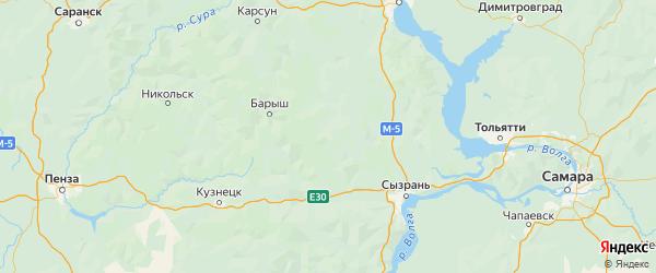 Карта Кузоватовского района Ульяновской области с городами и населенными пунктами