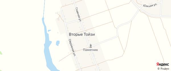 Главная улица на карте деревни Первые Тойси с номерами домов