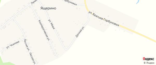 Дачная улица на карте деревни Ящерино с номерами домов