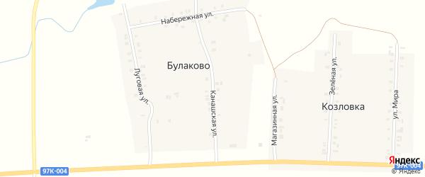 Канашская улица на карте деревни Булаково с номерами домов