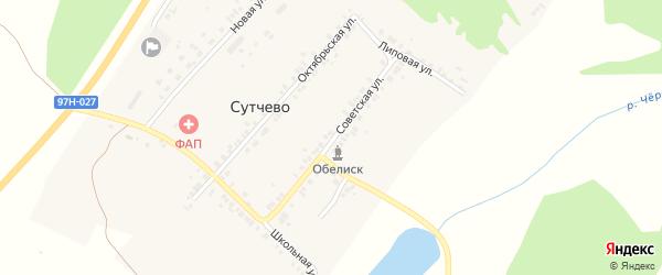 Советская улица на карте деревни Сутчево с номерами домов
