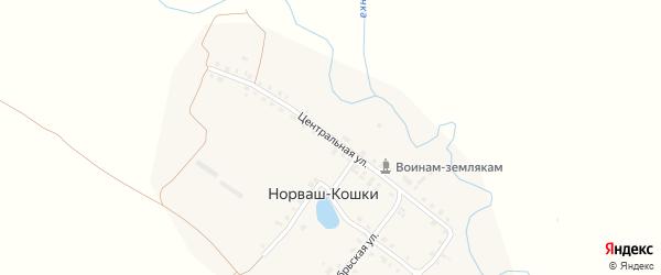 Центральная улица на карте деревни Норваша-Кошки с номерами домов