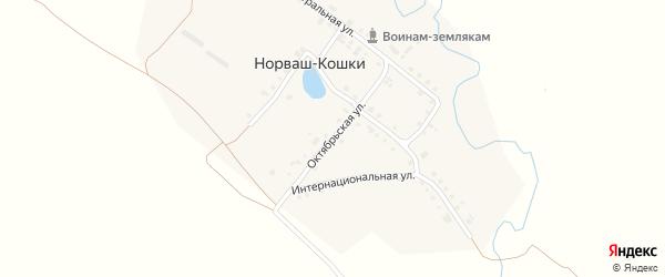 Октябрьская улица на карте деревни Норваша-Кошки с номерами домов