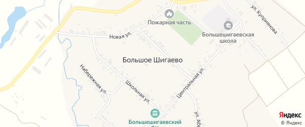 Центральная улица на карте деревни Большого Шигаево с номерами домов
