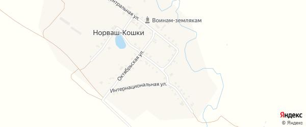 Интернациональная улица на карте деревни Норваша-Кошки с номерами домов