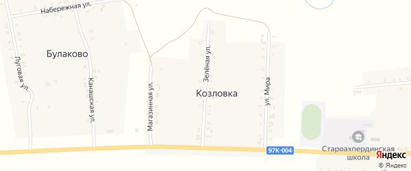 Зеленая улица на карте деревни Козловки с номерами домов