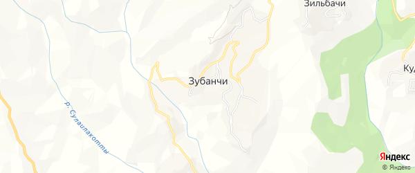Карта села Зубанчи в Дагестане с улицами и номерами домов