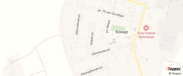Новая улица на карте поселка Конара с номерами домов