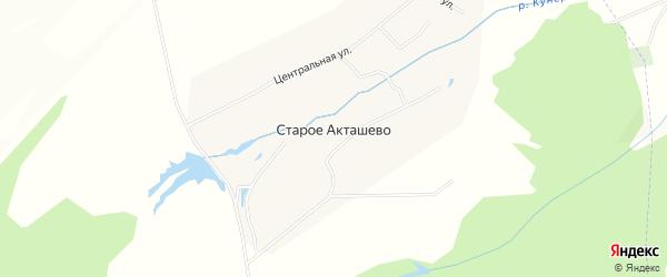 Карта деревни Старого Акташево в Чувашии с улицами и номерами домов