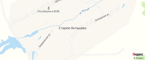 Центральная улица на карте деревни Старого Акташево с номерами домов