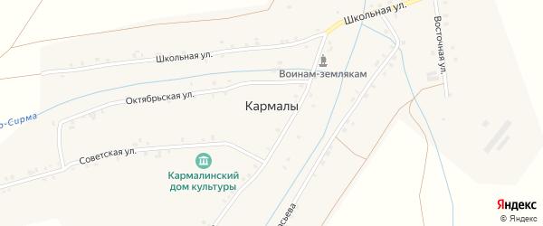 Восточная улица на карте села Кармалы с номерами домов