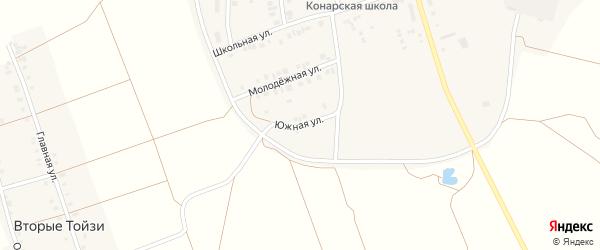 Южная улица на карте поселка Конара с номерами домов