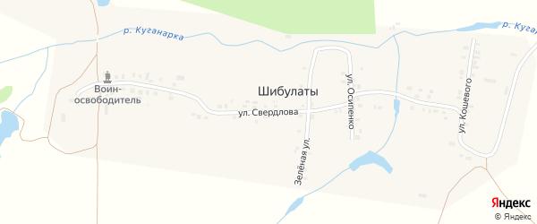 Улица Свердлова на карте деревни Шибулаты с номерами домов