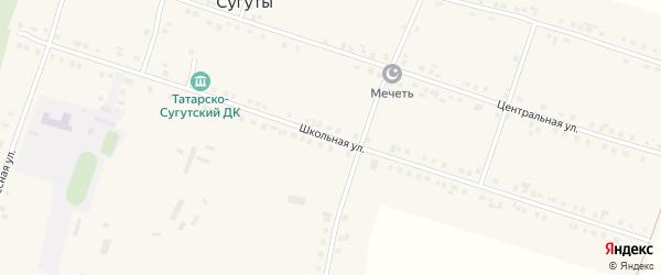 Школьная улица на карте деревни Татарские Сугуты с номерами домов