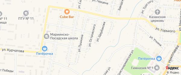 Улица Островского на карте Мариинского Посада с номерами домов