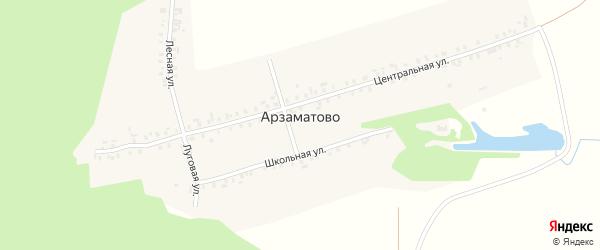 Школьная улица на карте деревни Арзаматово с номерами домов