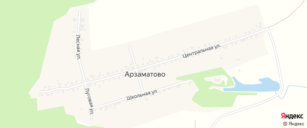 Центральная улица на карте деревни Арзаматово с номерами домов