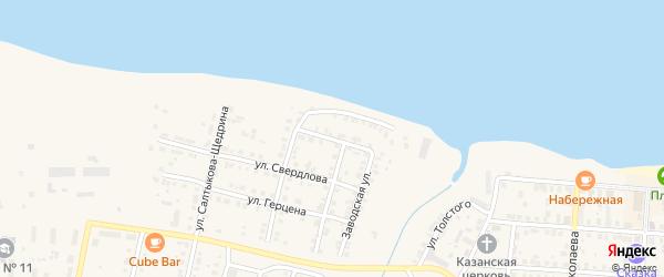 Комсомольская улица на карте Мариинского Посада с номерами домов