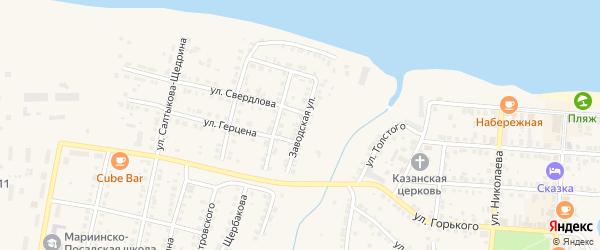 Заводская улица на карте Мариинского Посада с номерами домов