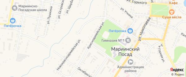 Красноармейская улица на карте Мариинского Посада с номерами домов
