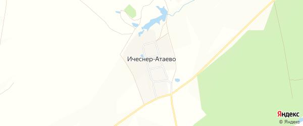 Карта деревни Ичеснер-Атаево в Чувашии с улицами и номерами домов