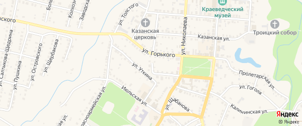 Улица Малинина на карте Мариинского Посада с номерами домов