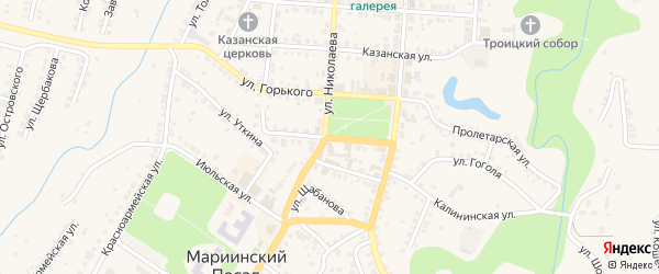 Улица Бондарева на карте Мариинского Посада с номерами домов