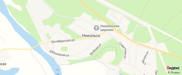 Карта села Никольска в Архангельской области с улицами и номерами домов