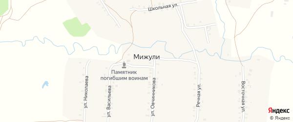 Восточная улица на карте деревни Мижули с номерами домов
