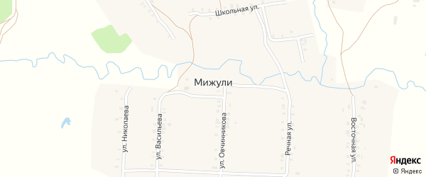 Улица Васильева на карте деревни Мижули с номерами домов